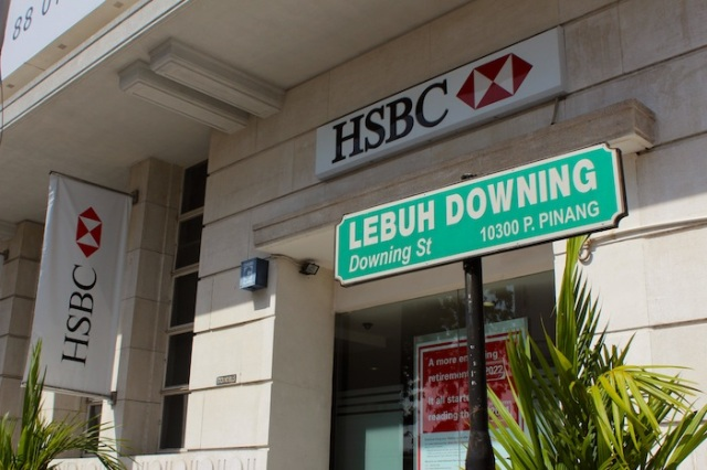 Lebuh Downing, or Downing Street, with HSBC Bank as backdrop.
