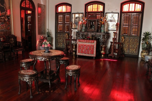 Interior of the Pinang Peranakan Mansion, an authentic recreation of the private domicile of a wealthy Straits Chinese family.