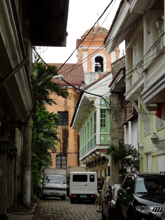 View towards the Church of San Agustin, the oldest standing church in Manila and the Philippines, and a UNESCO World Heritage Site.