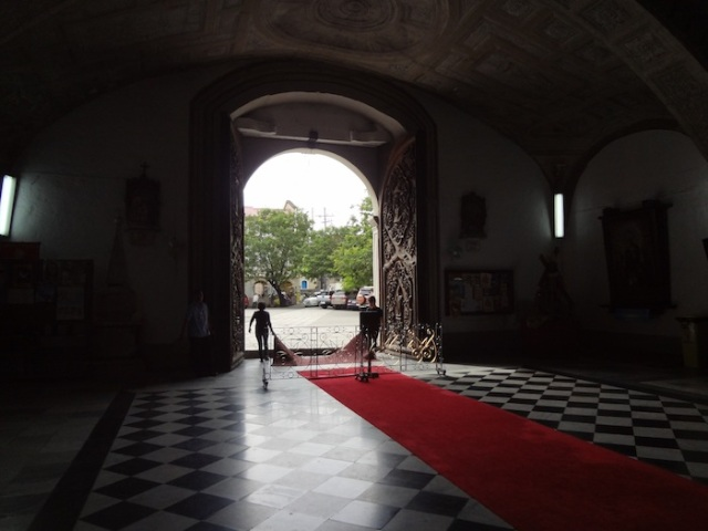 Inside looking out, San Agustin Church.