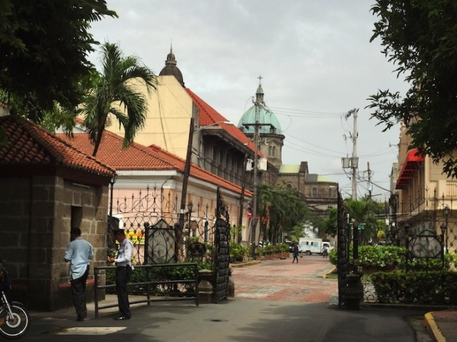 View of the Manila Cathedral as one walks out of the Fort Santiago park.