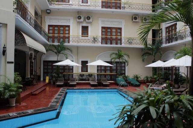 The Hotel's quaint little pool, in its quaint little courtyard.
