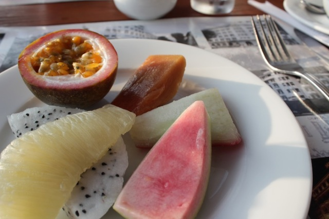 Fresh local fruits at breakfast.