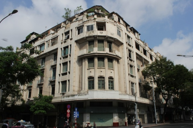 Lovely French colonial era apartment building, with a row of art galleries and boutiques on the ground floor.