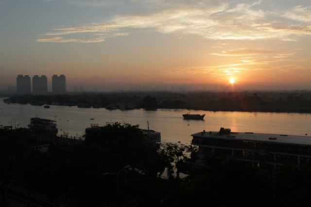 Dawn over the Saigon River.