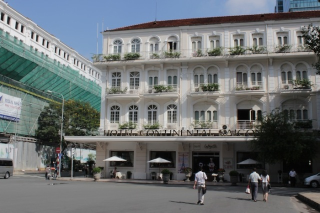 The legendary Hotel Continental Saigon, beside the to-be-unveiled new Eden Center, thankfully designed to blend in with the colonial architecture of its surroundings.