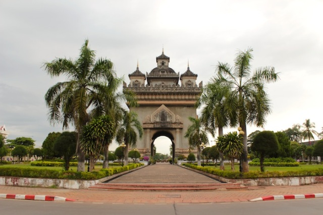 Patuxai, Victory Monument and symbol of Vientiane, supposedly constructed from concrete donated by the Americans for the city's airport runway.