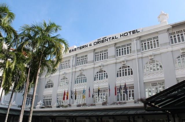 Channeling the Raffles Hotel in Singapore: the façade of the Eastern and Oriental Hotel, Penang.
