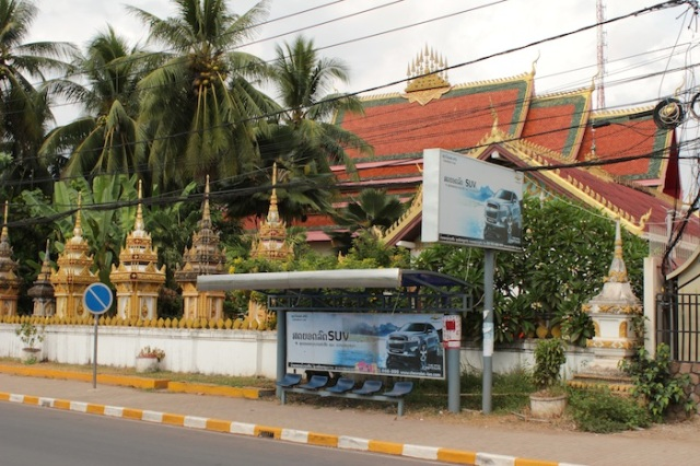 Juxtaposition of old and new, in a scene channeling Bangkok, Thanon Fa Ngum