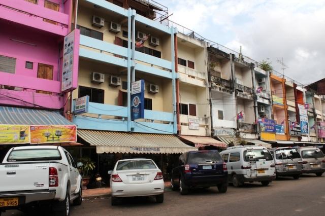 Multi-colored shophouses, reminiscent of Ho Chi Minh City. Thanon Khun Bu Lom.