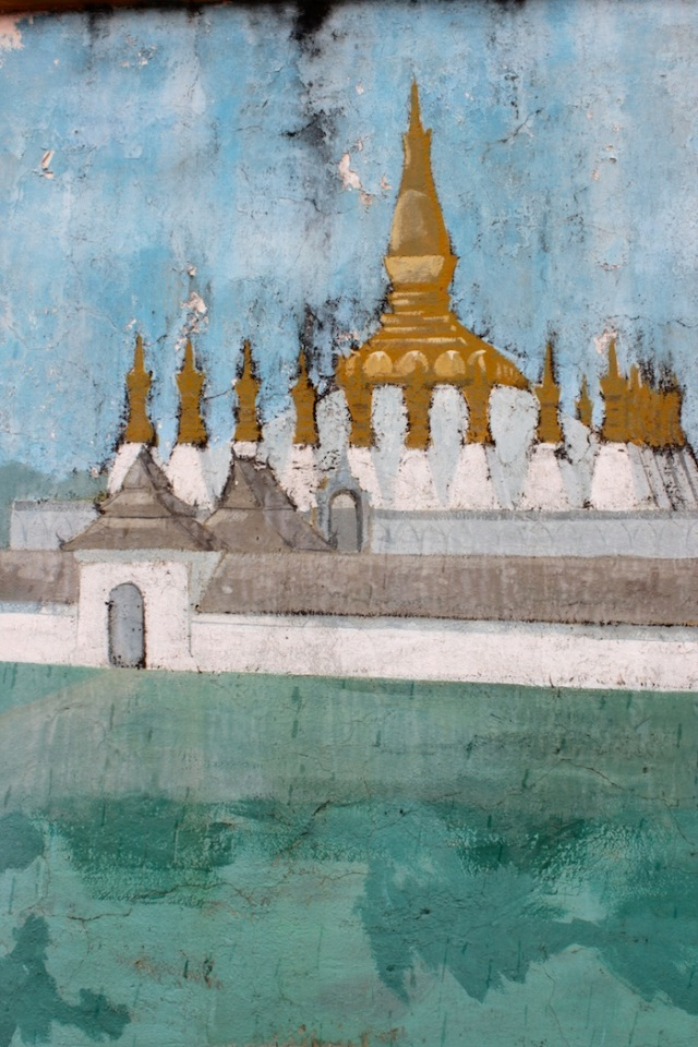 Impressionist painting of the Pha That Luang at the gates of the National Museum