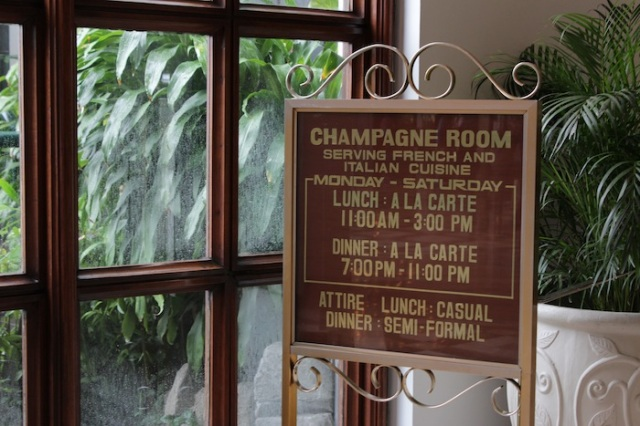 The Champagne Room: European Dining in period American splendour.