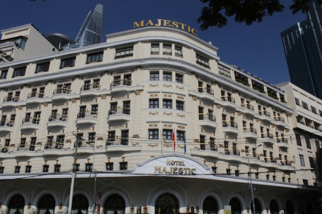 The façade of the Hotel Majestic, at No. 1 Đồng Khởi Street.