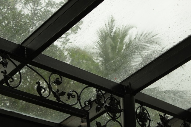 Tropical storm battering against the glass and wrought-iron canopy.