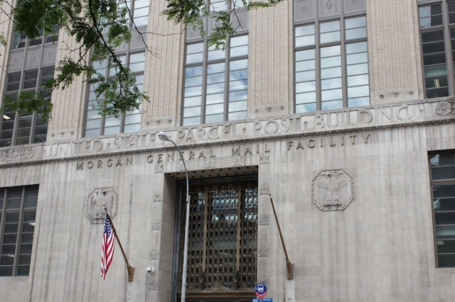 8 – Art Deco façade of the United States Parcel Post Building, with cartouches of the Bald Eagle.