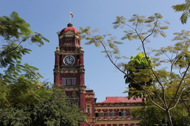 The High Court of Rangoon, an imposing Victorian confection in red brick.