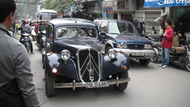 Driving through the old Town in the hotel's 1950s Citroen, 2010.
