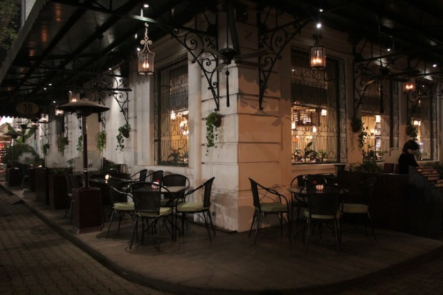 La Terrasse, in the evening.