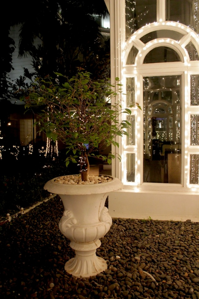 Exterior view of the l'Orangerie at night.