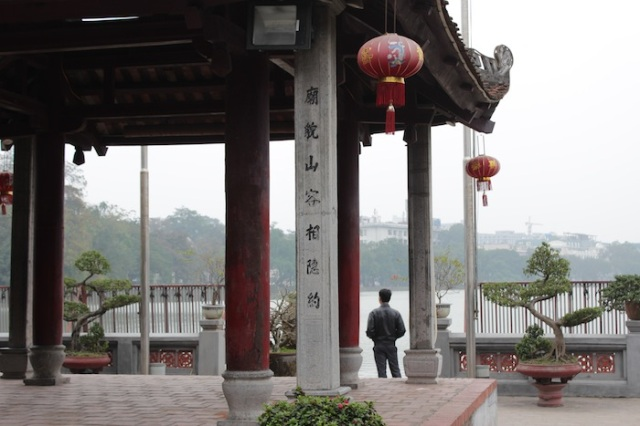 "Ngoc Son Temple. Inscription reads ""The Temple's façade resonates with the beauty of the Mountain."""