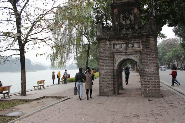 An ancient watchtower, along the shores of Hoan Kiem Lake.