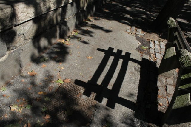 40 – Shadow of a bench along Joan of Arc Park.