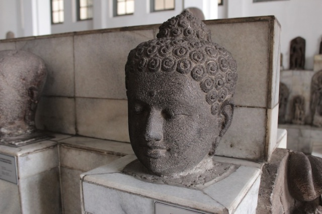 Severed Buddha's head from Borobudur in the museum's excellent collection of Javanese Hindu and Buddhist artefacts.