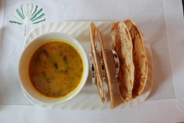 "Dhal curry, or rather ""Dull"" curry.  Exquisitely presented but soul-less"