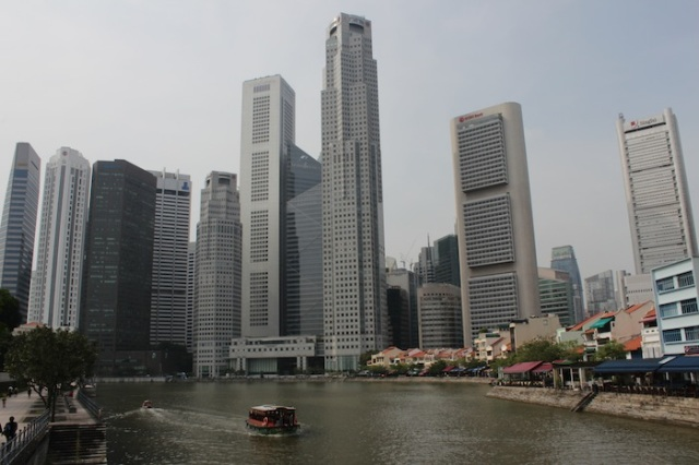 The Singapore Skyline, from the Singapore River