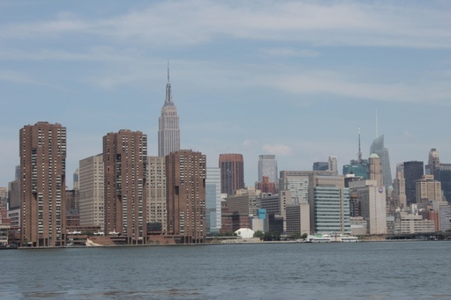 View of the Manhattan Skyline and the Empire State Building, from the East River Ferry