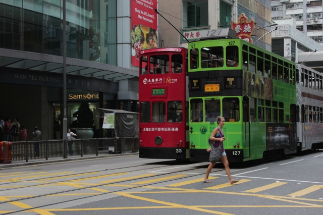 Hong Kong Tramways, trundling along between Central and Sheung Wan.