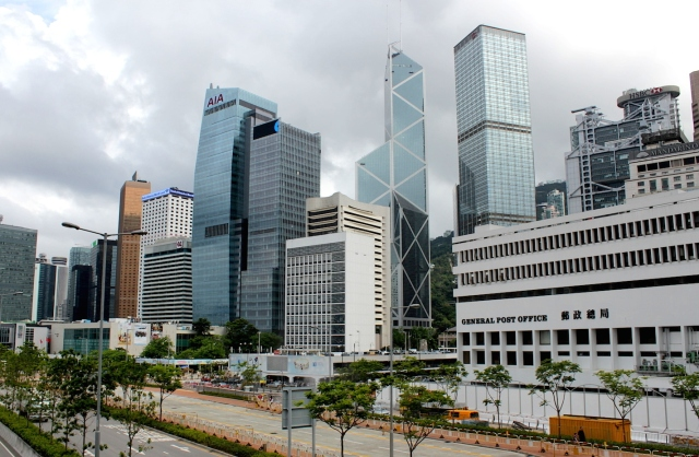 The Hong Kong Waterfront, with the fourth General Post Office Building (1976) to the right.