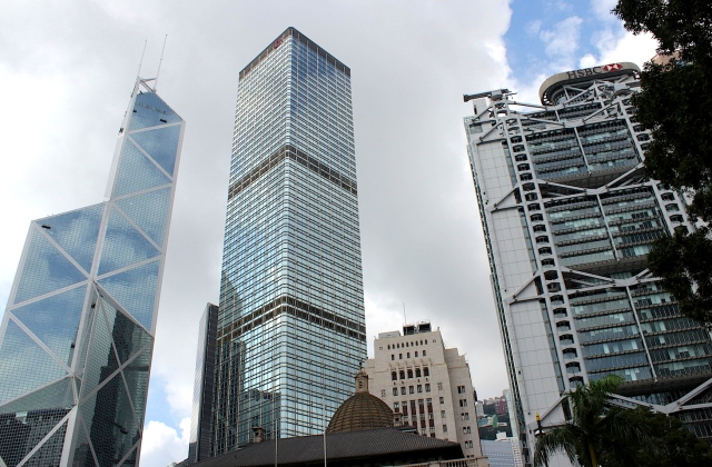 The three towers of downtown Hong Kong - the HSBC Building (1985) by Norman Foster, the Bank of China Tower (1990) by I.M. Pei, and the Cheung Kong Centre (1999) by Cesar Pelli.