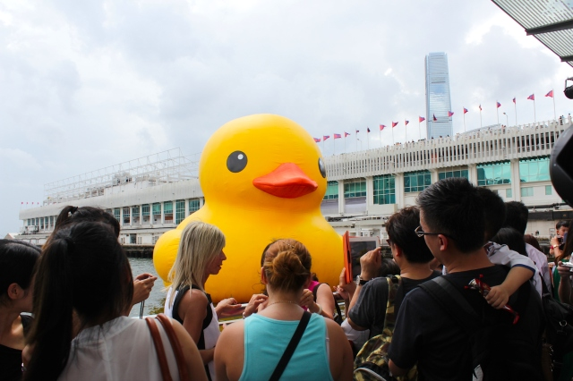 Rubber Duck, by Dutch artist Florentijn Hoffman, in Kowloon Harbour 2013
