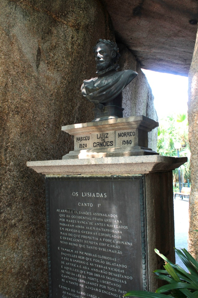 Bust of Luís de Camões (1524 - 1580), the famous Portuguese Poet who wrote the epic Os Lusiadas.  He is purported  to have lived in this grotto with his local wife in 1557.  The bust stands in Camoes Garden.