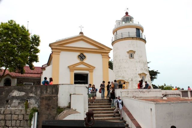 The Guia Lighthouse (1864) and the Chapel of Our Lady of Guia (1626).  The chapel contains murals painted in the 1600s.