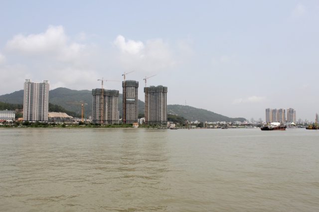 The Chinese cit of Zhuhai, now within swimming distance of Macao's waterfront esplanade.