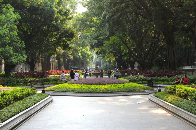The verdant tree-lined Central Avenue is the central spine of Shameen Island.