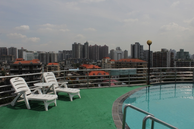 The rooftop swimming pool, with a view of Shameen Island and Old Canton.