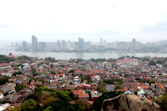 View of Gulangyu Island and the Xiamen Skyline from the Sunlight Rock (日光岩) - the highest point on Gulangyu Island.
