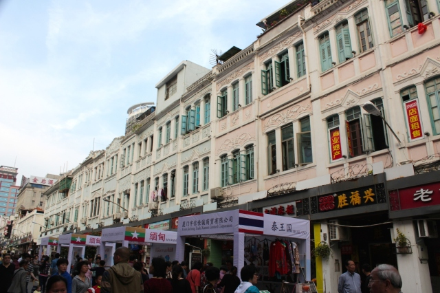 The pastel pink refurbished shophouses on Zhongshan Road