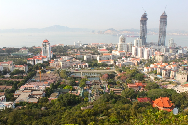 Panoramic view of Xiamen University to the left and Nanputuo Temple at centre, from atop the hill.