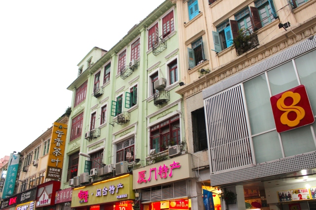 Bright flashing neon lights adorn the restored facades on Zhongshan Road.