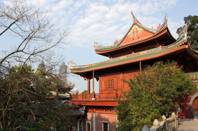 One of the temples in the South Putuo Temple complex, perched on the slopes of Mount Putuo.