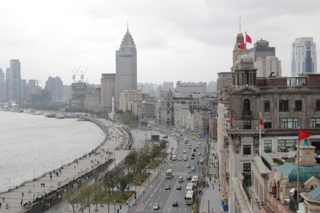 View of the Shanghai Bund from the top of the Fairmont Peace Hotel.