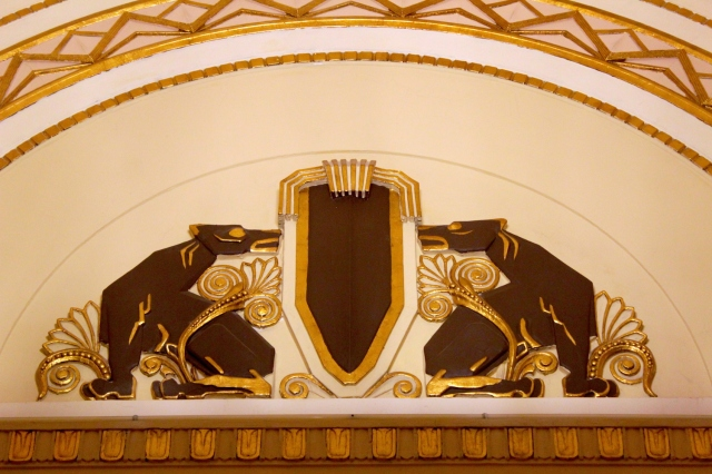The hotel's signature design flourish is a pair of Art Deco greyhounds.