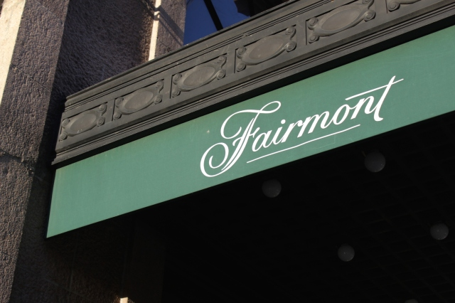 Close-up of the Fairmont banner.