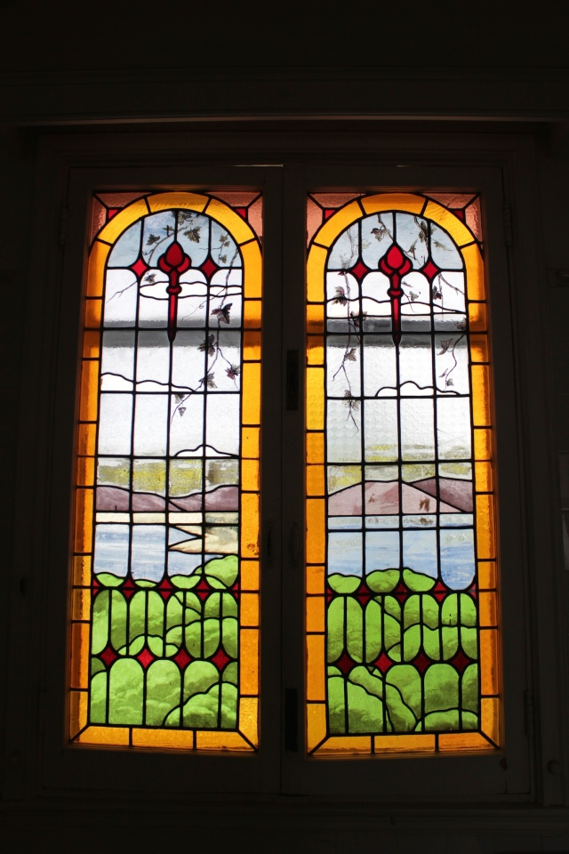 Stained glass window in the interior of the Residence.