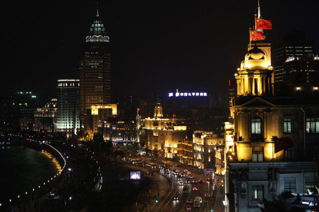 View of the Shanghai Bund from the hotel's rooftop bar.