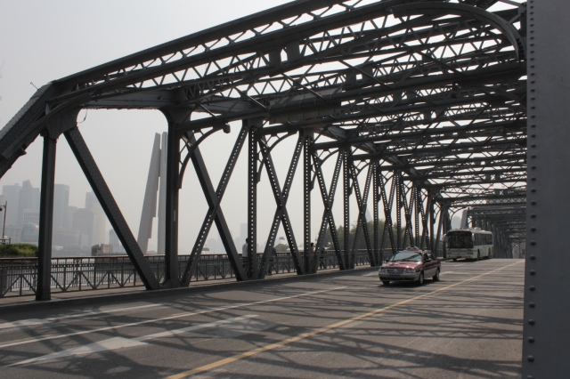 The Garden Bridge, one of the oldest bridges in Shanghai, built over the Suzhou Creek. This version was built in 1908.